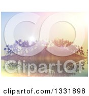 Clipart Of A 3d Tropical Island With Palm Trees And Flares At Sunset Royalty Free Illustration