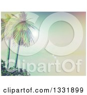 Clipart Of A 3d Tropical Island With Palm Trees And Shrubs A Still Foggy Bay And Mountains Royalty Free Illustration
