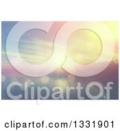 Clipart Of A 3d Tropical Island With Palm Trees And Fog At Sunset With Flares Royalty Free Illustration