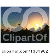 Clipart Of A 3d Tropical Island Beach Sunset With Silhouetted Palm Trees Royalty Free Illustration