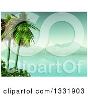 Clipart Of A 3d Tropical Island With Palm Trees And Shrubs A Still Bay And Mountains Royalty Free Illustration