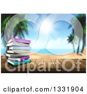 Clipart Of A 3d Wood Table Top With A Stack Of Books Against A Blurred Tropical Beach And Ocean Royalty Free Illustration by KJ Pargeter
