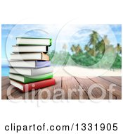 Clipart Of A 3d Wood Table Top With A Stack Of Books Against A Blurred Sunny Sky With Clouds Royalty Free Illustration