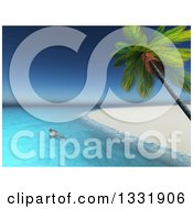 3d Sea Turtle Swimming Off Of A Beach Of A Tropical Island With A Palm Trees
