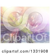 Clipart Of A 3d View Looking Up At A Tropical Palm Tree Against Sky With Wispy Clouds And Vintage Flares Royalty Free Illustration