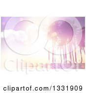Clipart Of A 3d Pink Vintage Flare Sunset Over A Tropical Island With Palm Trees Royalty Free Illustration