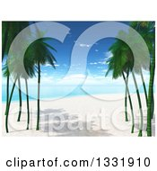 Clipart Of A 3d Tropical Island Beach With White Sand Palm Trees And Blue Water Royalty Free Illustration