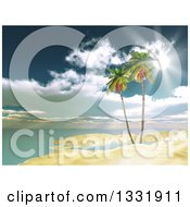 Clipart Of A 3d Tropical Island Beach With Palm Trees And Sunshine Royalty Free Illustration