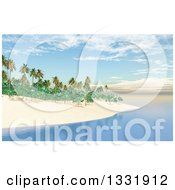 Clipart Of A 3d Tropical Island Beach With White Sand Palm Trees And Still Blue Water Royalty Free Illustration