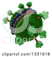 Clipart Of 3d Blue And Red Cars On A Roadway Around A Grassy Planet With Trees On White 2 Royalty Free Illustration