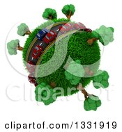 Clipart Of 3d Blue And Red Cars On A Roadway Around A Grassy Planet With Trees On White 3 Royalty Free Illustration
