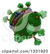 Clipart Of 3d Blue And Red Cars On A Roadway Around A Grassy Planet With Trees On White 4 Royalty Free Illustration