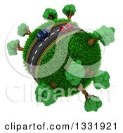 Clipart Of 3d Blue And Red Cars On A Roadway Around A Grassy Planet With Trees On White 5 Royalty Free Illustration