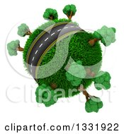 Clipart Of A 3d Roadway Around A Grassy Planet With Trees On White Royalty Free Illustration