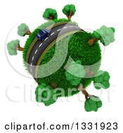3d Lone Blue Car On A Roadway Around A Grassy Planet With Trees On White