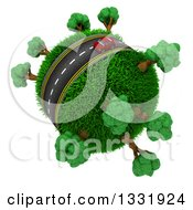 3d Lone Red Car On A Roadway Around A Grassy Planet With Trees On White