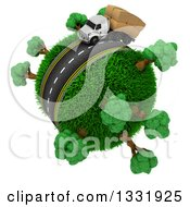 Clipart Of A 3d Roadway With A Big Rig Trucks Loaded With Boxes Driving Around A Grassy Planet With Trees On White Royalty Free Illustration