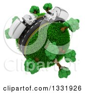 Clipart Of A 3d Roadway With Big Rig Trucks Around A Grassy Planet With Trees On White Royalty Free Illustration