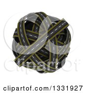 Clipart Of A 3d Globe Made Of Roads On White 2 Royalty Free Illustration