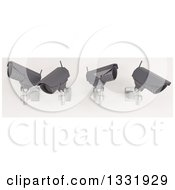 Clipart Of 3d Four Black HD CCTV Security Surveillance Cameras Mounted On A Wall On Off White Royalty Free Illustration