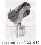 Clipart Of A 3d Black HD CCTV Security Surveillance Camera Mounted On A Wall Tilted Upwards On Off White Royalty Free Illustration