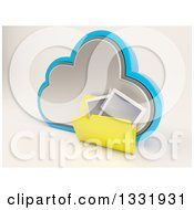 Clipart Of A 3d Cloud Storage Icon With A Yellow Photo Folder On Off White Royalty Free Illustration