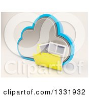 Clipart Of A 3d Cloud Storage Icon With A Folder Of Documents On Off White 2 Royalty Free Illustration