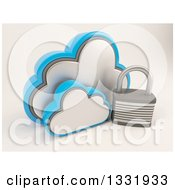 3d Clouds Storage Icon With A Padlock On Shaded White