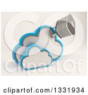 Clipart Of A 3d Clouds Storage Icon With An Attached Padlock On Shaded White Royalty Free Illustration