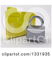 3d Padlock In Front Of A Yellow Folder On Off White