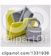 3d Yellow File Folder With Pictures And A Padlock On Shaded White