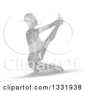 Clipart Of A 3d Grayscale Anatomical Woman With Visible Skeleton Stretching In A Yoga Pose On White Royalty Free Illustration