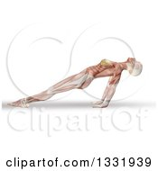Clipart Of A 3d Anatomical Woman Stretching In A Yoga Pose Her Arms Under Her With Visible Muscles On White Royalty Free Illustration