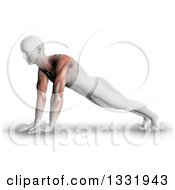 Clipart Of A 3d Anatomical Man Stretching In A Yoga Pose Or Doing Push Ups With Visible Arm And Shoulder Muscles On Shaded White Royalty Free Illustration