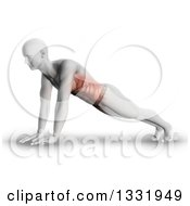 Clipart Of A 3d Anatomical Man Stretching In A Yoga Pose Or Doing Push Ups With Visible Front Side Muscles On Shaded White Royalty Free Illustration