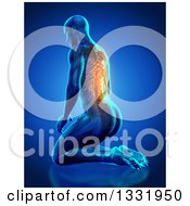 Clipart Of A 3d Anatomical Man Kneeling On The Floor With Visible Skeleton And Glowing Pain On Blue Royalty Free Illustration