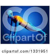 Clipart Of A 3d Anatomical Man Stretching In A Yoga Pose Or Doing Push Ups With Glowing Back Pain And Visible Skeleton On Blue Royalty Free Illustration