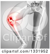 Clipart Of A 3d Anatomical Human Male Skeleton With Glowing Knee Pain On Gray Royalty Free Illustration