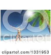 Clipart Of A 3d Carefree Happy Caucasian Woman In A Bikini Cheering On A Tropical Beach With Flares Royalty Free Illustration