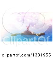 Clipart Of A 3d Woman Doing Yoga On Rocks In The Ocean With Vintage Flares And Colors Added Royalty Free Illustration