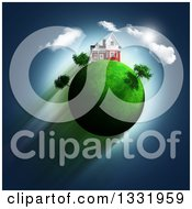 Clipart Of A 3d House On Top Of A Green Glassy Globe With Trees Clouds And Sky Royalty Free Illustration
