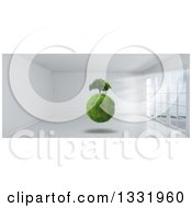 Clipart Of A 3d Grassy Globe And Tree Floating Inside A White Room With Floor To Ceiling Windows Royalty Free Illustration by KJ Pargeter