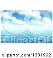 Clipart Of A 3d Blue Cloudy Sky Over Rippling Ocean Water Royalty Free Illustration by KJ Pargeter