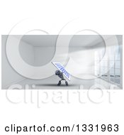 Clipart Of A 3d Blue Android Robot Holding Up A Solar Panel In A Room With Floor To Ceiling Windows Royalty Free Illustration