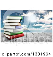 Clipart Of A 3d Wood Table Top With A Stack Of Books Against A Blurred Sunny Sky With Clouds And A Boat At Sea Royalty Free Illustration
