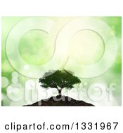 Clipart Of A 3d Mature Tree On A Hill Over Green Flares Royalty Free Illustration