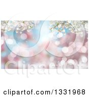 Clipart Of A Background Of 3d Cherry Blososm Branches Over Blur And Flares Royalty Free Illustration