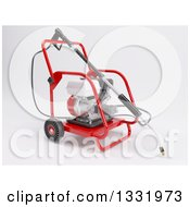 Clipart Of A 3d Pressure Washer Machine On Shaded White Royalty Free Illustration