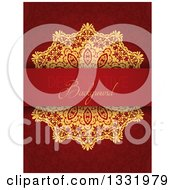 Clipart Of A Gold Doily And Decorative Background Text Bar Over A Pattern Royalty Free Vector Illustration