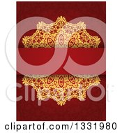Clipart Of A Gold Doily And Blank Text Bar Over A Red Pattern Royalty Free Vector Illustration by KJ Pargeter
